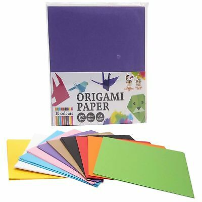 100 Sheets 15x15cm Assorted Colours Origami Folding Squares Paper Arts Crafts