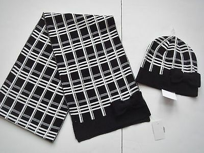 NWT KATE SPADE Scarf and Hat Set Black White Plaid Bow $128