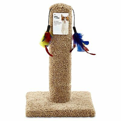 You & Me Cat Scratch Post with Feather Toys, X-Large, Tan 100% Scratchable