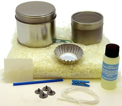 Soy wax candle making kit. Nice gift. 2 tins, fragrance & wax melt mould