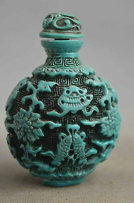 Collectible Handwork Old Turquoise Carve Flower Rattan Lucky Noble Snuff Bottle