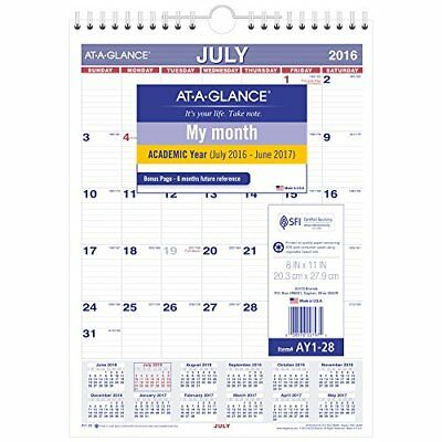 "AT-A-GLANCE Academic Year Monthly Wall Calendar, July 2016 - June 2017, 8""x11"","
