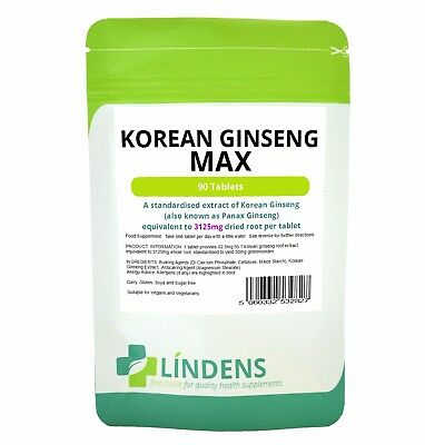 Korean Ginseng Max 3125mg  Tablets Energy Boost Sexual Health Immune LINDENS