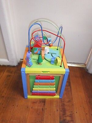 Childrens 5 in 1 Wooden Toy Activity Cube - Bead Maze, Good Condition