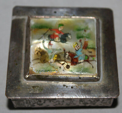 Antique Silver Plated Snuff Pill Box Oriental Hand Painted Mother Of Pearl Scene