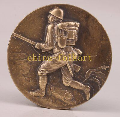 Bronze Statue Japanese Soldier Souvenir Handicraft Gift Decoration Collection