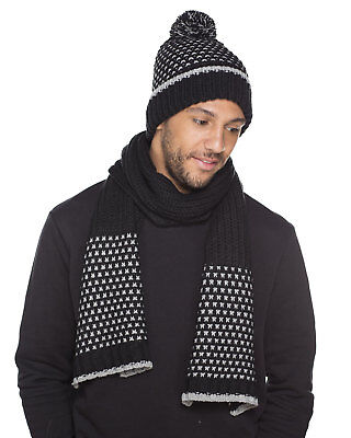 Unisex Adult Cross Design Knitted Warm Winter Hat & Scarf Set
