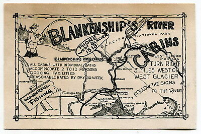 "Old Fishing Related Ad Card: ""Blankenship's River"" [Glacier Nat'l Park, Montana]"