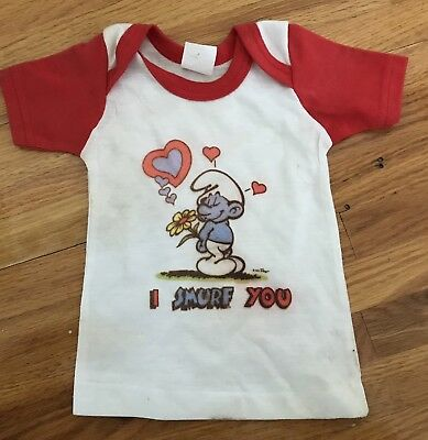 SMURF I Love You 80's Vintage Toddler Child Size t shirt Size 18 months unused