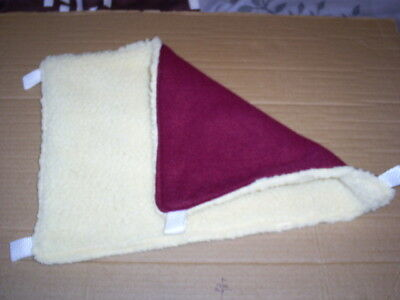 (Small)  HAMMOCK(Rats) -- Burgundy Fleece/Cream Sherpa) thick & cosy 14 X 10 ins