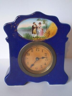 Stunning Antique Cobalt Blue Pottery Clock With Painted Countryside Design