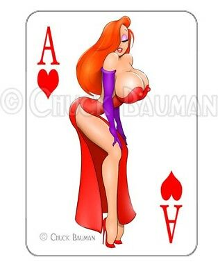 JESSICA RABBIT TEMPTRESS sexy playing card decal sexy pin-up babe sticker