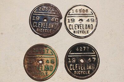 "Vintage Cleveland Ohio Lot Of 4 Bicycle License Plates 2-1/2"" round"