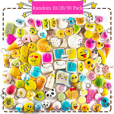 10/20/30 Pack Squishies Simulation Toys Donut/Bread/Panda Squishies Phone Straps