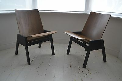STUNNING PAIR VINTAGE PLYWOOD LOUNGE CHAIRS - 1950's