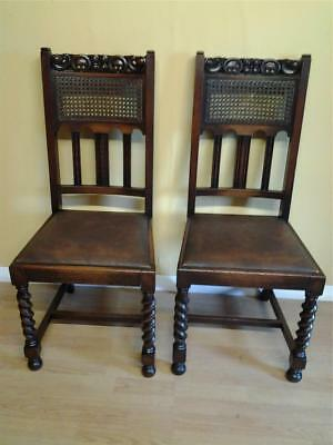 Pair 2 Jacobean style  barleytwist oak and cane  hall chairs