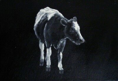 Cow Original Oil Painting on Box Canvas by Sian Sloman