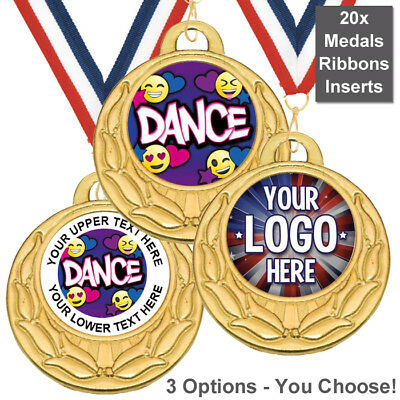 PACK OF 20x DANCE EMOJI MEDALS, RIBBONS, INSERTS OWN LOGO & TEXT 3 OPTIONS *NEW*