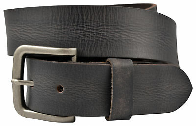 Vintage Full Grain Solid Buffalo Leather Belt w/Nickle Finish Buckle - Black