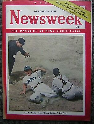 10/6/1947 Newsweek - The Magazine of News Significance - Brooklyn Dodgers Cover