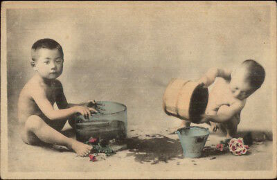 Native China Chinese Life Babies Playing c1910 Hand Colored Postcard