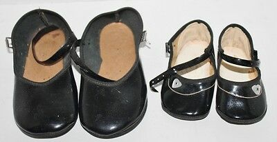 Vintage Black Patent baby infant shoes girls - Buckles - Lot of 2