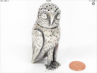 Continental Silver Pepperette figure Owl 3inches 1.3 oz Owl