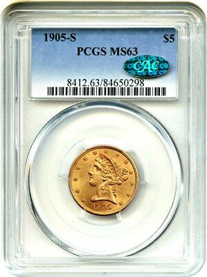 1905-S $5 PCGS/CAC MS63 - Liberty Half Eagle - Gold Coin - Better Date