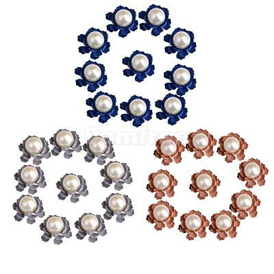 10pcs Flower Metal Pearl Flatback Buttons Embellishment for Jewelry Making 21mm