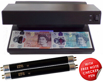 12W UV Money Checker Counterfeit Polymer Note Detector + 2 Spare F6T5-BLB Bulbs