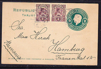Mexico 1912 Embossed 2c  Uprated Letter card to Germany