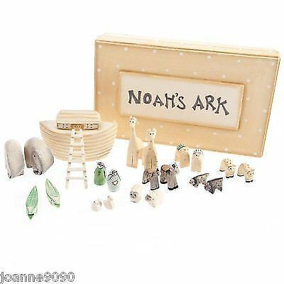 East Of India Wooden Boxed Christening Christmas Noahs Ark Set Decoration Home