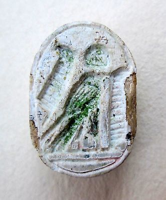 Egyptian Steatite Scarab Bird Leaves Archaeology