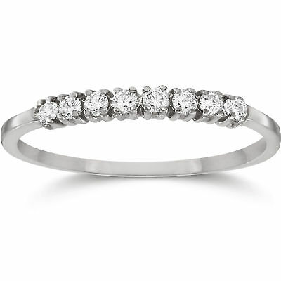 1/5ct Eight Stone Diamond Wedding Stackable Guard Band Ring 14K White Gold