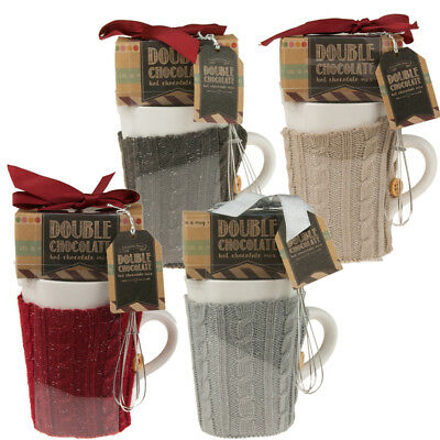 Hot Chocolate Gift Set with Hot Chocolate Mix Cosy Sweater and Whisk NEW
