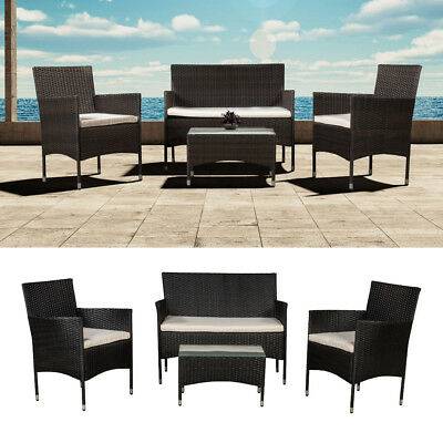 poly rattan garten lounge gartenset schwarz garnitur polyrattan gartenm bel neu eur 279 90. Black Bedroom Furniture Sets. Home Design Ideas