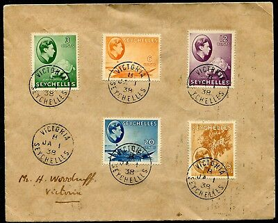 Seychelles 1938 KGVI x5 values SG 136-141 on first day cover (cat. £27.50+)