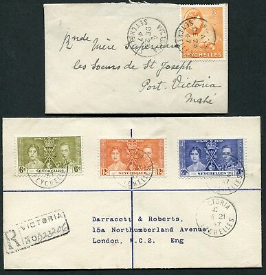 Seychelles KGVI x4 envelopes 1937-1953 including 3c SG 136a used locally