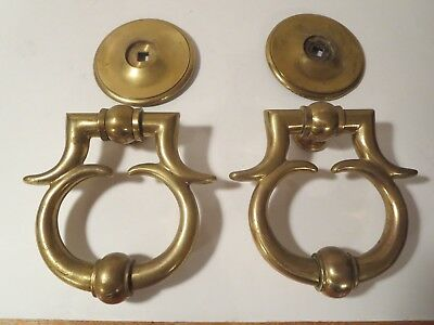 Pair of Solid Brass Antique Door Knockers 3.10 lbs. Each w/ Back Plates Italy