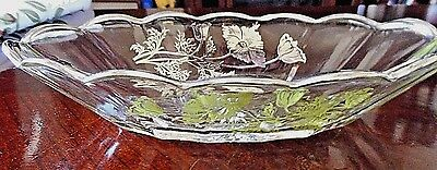 """Vintage Silver City Sterling Overlay 9"""" Relish Dish~Flanders Poppies~Stunning"""