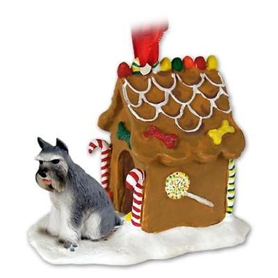 SCHNAUZER Grey Dog Ginger Bread House Christmas ORNAMENT