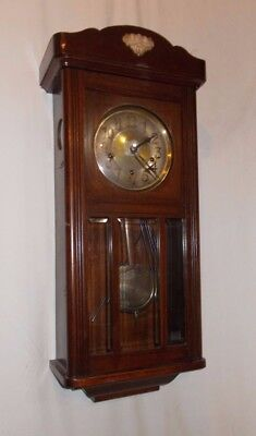 VINTAGE Badische Uhrenfabrik WALL CLOCK With WESTMINSTER Chime OAK Case GLAZED