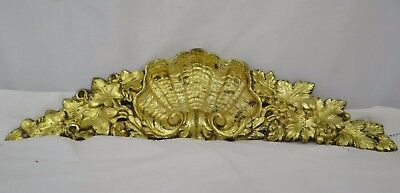 "11.5"" Antique French Bronze Plaque Pediment Louis XV Style - Grapes"