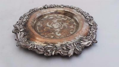 Great Antique Georgian Old Sheffield Plate Silver Mounted Coaster Or Dish Stand