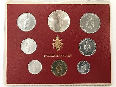 1976 Vatican City Italy 8-Coin Silver Mint Set In Original Packaging