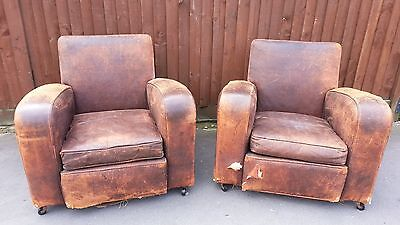 PAIR of Rare ANTIQUE Art Deco FRENCH brown leather CLUB CHAIRS