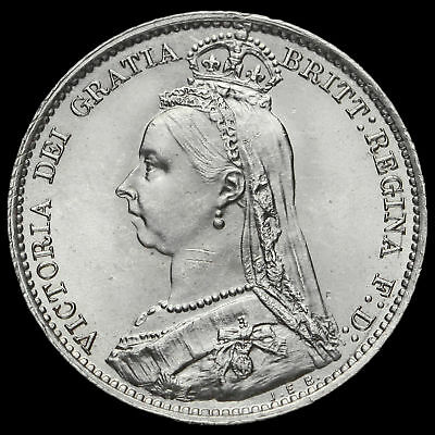 1891 Queen Victoria Jubilee Head Silver Sixpence, Scarce, BU