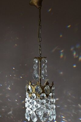 Home Decor Antique French Vintage Crystal Chandelier Old Lamp 1950's Lighting