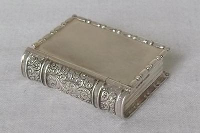 A Superb Novelty Solid Sterling Silver Book Pill Box Import London 1987.