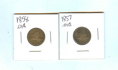 1857 And 1858 Small Cent Flying Eagle Total 2 - Cir
